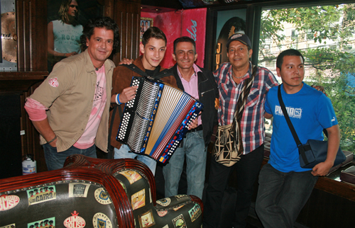At Gaira Restaurant in Bogota, with Vallenato Pop star Carlos Vives, a prodige former King Vallenato showing up the new double accordion  'De Colombia para el Mundo' created by master tuner and accordion fixer  Don Jaime, next to him, Master Egidio and José